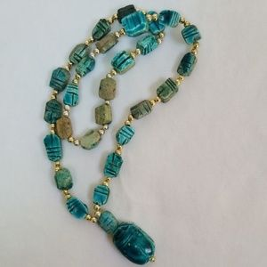 Scarab Necklace Turquoise and Gold Womens Necklace